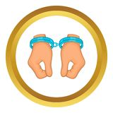 Hands in handcuffs vector icon Royalty Free Stock Photo