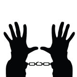 Hands in handcuffs vector silhouette illustration Royalty Free Stock Photo