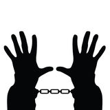Hands in handcuffs vector silhouette Royalty Free Stock Photo