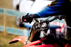 Hands on handlebar racer motorcycle. Racing during race stock photography