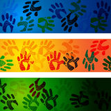 Hands Handprints Indicates Design Drawing And Abstract Royalty Free Stock Images