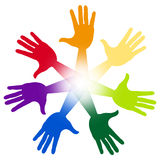 Hands Handprints Represents Artwork Child And Watercolor Royalty Free Stock Photo
