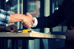 Hands on hands teamwork and partnership sign Stock Photography