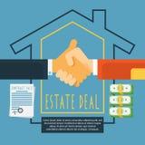 Hands handshake estate deal concept stock illustration