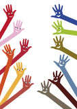 Hands with happy boys and girls faces design. On white Stock Photo