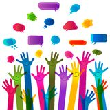 Hands with happy faces and bubbles speech. No transparencies Royalty Free Stock Photography