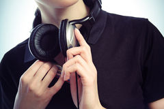 Hands with headphones Royalty Free Stock Photos