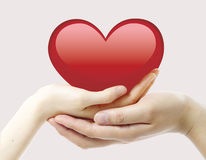 Hands and heart Stock Photography