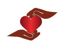 Hands and heart. Creative Illustration, two hands hold heart Royalty Free Stock Photo
