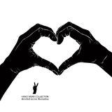 Hands in heart form, detailed black and white vector illustratio. N Royalty Free Stock Photos