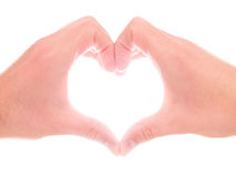 Hands heart. Hands forming a heart for concepts like love, care, cardiology, help, safety - isolated on white Stock Image