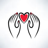 Hands and heart vector illustration