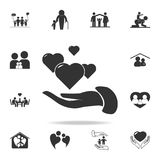 In the hands of the heart icon. Detailed set of human body part icons. Premium quality graphic design. One of the collection icons. For websites, web design Royalty Free Stock Image