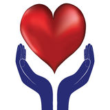 Hands and heart. Icon of kindness and charity  valentine day Royalty Free Stock Images