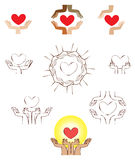Hands and heart icon logo element. Vector set of hands holding heart elements stock illustration