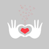 Hands heart love greeting card vector illustration Royalty Free Stock Images