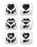 Hands with heart, love, relationship buttons set Royalty Free Stock Photography