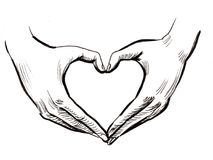 Hands and heart. Hands making a heart shape. Ink black and white illustration vector illustration