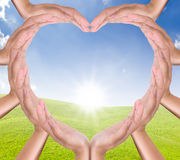 Hands heart on new day Royalty Free Stock Images