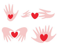 Hands and heart set of symbols Royalty Free Stock Image