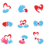 Hands and heart set of symbols Stock Photos