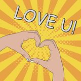 Hands in heart shape. Gesture - LOVE YOU. Comic. Illustration in pop art retro style at sunburst background with dot halftone effect. Vector Stock Image