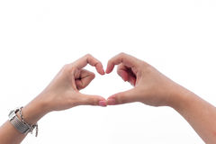 Hands in Heart Shape. Healthy Female and male hands in heart shape showing love friendship royalty free stock photo