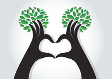 Hands heart shape with leaves , nature lovers , World Environment Day Stock Photography