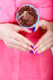 Hands heart shape with muffin. Confectionery. Stock Photography