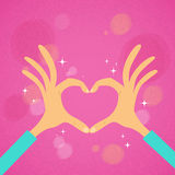 Hands Heart Shape Pink Background. Vector Illustration Royalty Free Stock Photography