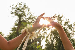 Hands in heart shape with sunlight and flare Royalty Free Stock Images
