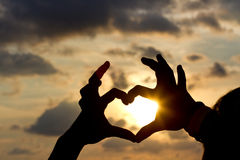 Hands in heart shape. On sunset background Royalty Free Stock Images