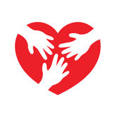 Hands in heart shape. Vector teamwork and cooperation concept in flat style. partnership and collaboration hand  icon Royalty Free Stock Image