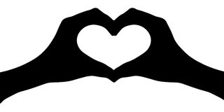 Hands heart silhouette vector. Royalty Free Stock Image