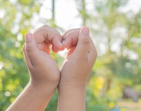 Hand and heart stock photo