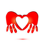 Hands and heart symbol logo Royalty Free Stock Photography