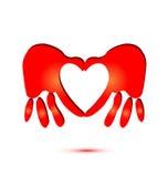 Hands and heart symbol logo royalty free illustration