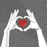 Hands with heart symbol sketch. Scratch board style. Love abstract. Valentine vector illustration