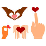 Hands with heart symbols Stock Photography