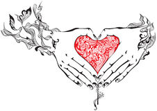 Hands with heart. Vector illustration of hands folded in the shape of heart Stock Photo