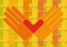 Hands with heart wallpaper. Two hands drawing a heart between them Royalty Free Stock Photography