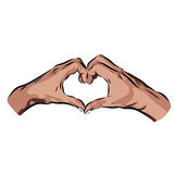 Hands with heart on a white background. Vector EPS illustration Royalty Free Stock Photo