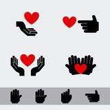 Hands and hearts. Over gray backgroun vector illustration Royalty Free Stock Images