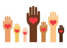 Hands & Hearts (Skin Colors Version). Different Skin Colors Hands with a heart on the palm Royalty Free Stock Photography