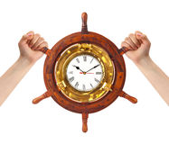 Hands and helm clock - time management Royalty Free Stock Photos