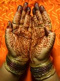 Hands with Henna design. Decorated Hands with Henna design Stock Images