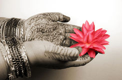 Hands with Henna design. Decorated Hands with Henna design, can be used as a sign of worship, offering or to welcome God Royalty Free Stock Photo