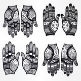 Hands with henna tattoos set illustration. Royalty Free Stock Images