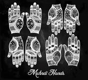 Hands with henna tattoos set illustration. Royalty Free Stock Photography