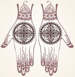Hands with henna tattoos Royalty Free Stock Images